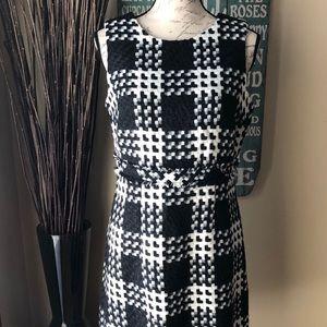 NWOT Beautiful Black, White, & Grey Sheath Dress.